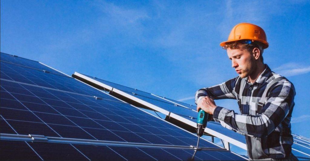 solar technician installing