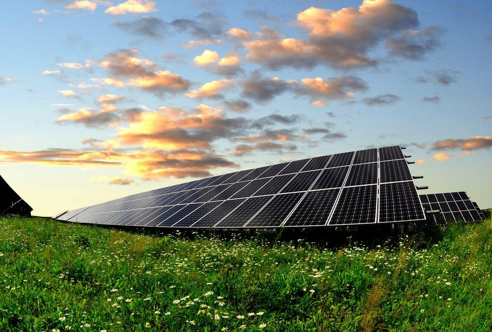 solar panel array in a rural field